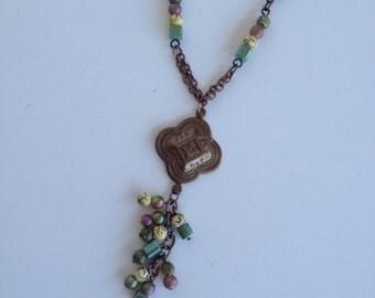 Antique Copper Medallian Dangle Necklace