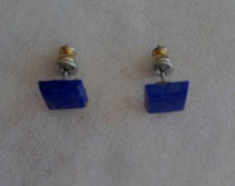 Vintage Lapis Lazuli Flat Square Post Earrings