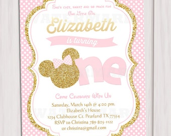 Pink and Gold Minnie Mouse First Birthday Party Invitation, 1st Birthday, Gold Glitter, Polka Dot invite, Girl, Printable Invitation