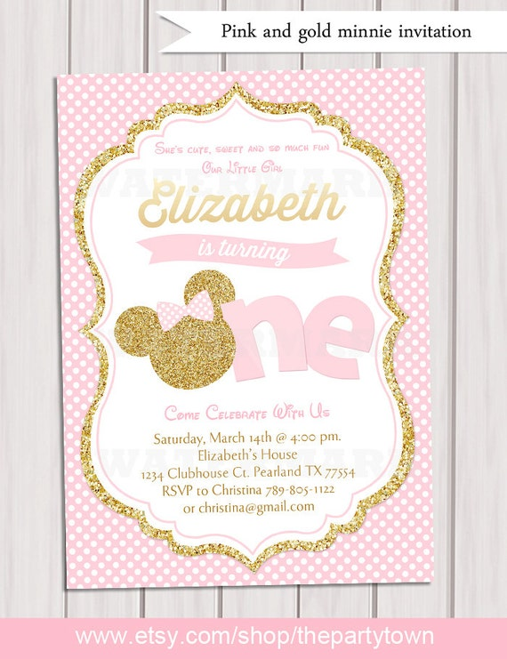 Pink and gold minnie mouse first birthday party invitation 1st il570xn filmwisefo