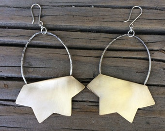 NuGold Brass 4-Pointed Shaped Earrings