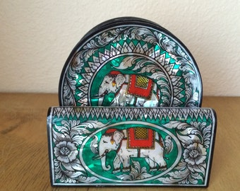 Five Mother of Pearl Inlay Coaster - Elephant from India