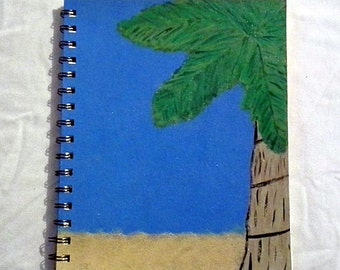 Summer Tree Notebook, Palm Tree Journal, Repurposed and Recycled