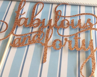 Age Cake Toppers - Copper Glitter - One/Sixteen/Eighteen/Twenty One/Thirty/Forty/Fifty/Sixty etc