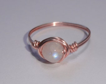 Rainbow Moonstone ring, Rose gold wire wrapped rainbow moonstone ring, Gemstone ring, Rose gold moonstone ring
