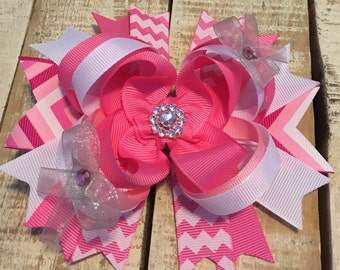 Pink Chevron Boutique Hair Bow- Pink layered hairbows- Pink Chevron headband