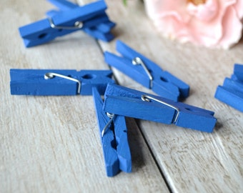 mini clothespins, royal blue hand-painted mini clothespins, blue small clothespins - 10 clothespins