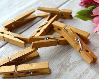 antique gold mini clothespins, gold hand-painted mini clothespins, gold wedding clothespins, gold painted wooden clothespins- 10 clothespins