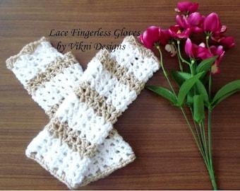Lace Crochet Fringerless Gloves, White Buff Winter Gloves by Vikni Designs