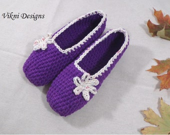 Cotton Slippers, Crochet Slippers, Purple Crochet Indoor Slippers, Women House Shoes