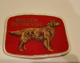 Vintage New old stock embroidered dog patch, dog breed, Golden Retriever 1960's