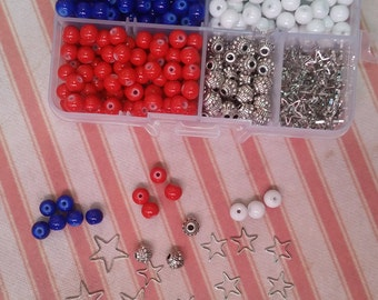Bead Box Set Kit 016 Red, White & Blue Round Painted Glass Beads 6mm * Star Charms * Metal Beads * Red White Blue -  4th of July
