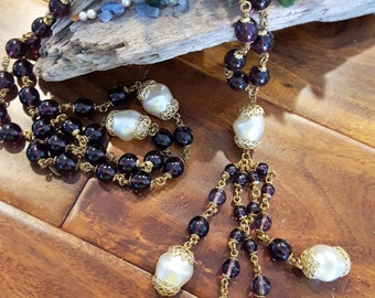 Vintage Purple, Pearl and Gold Beaded Necklace
