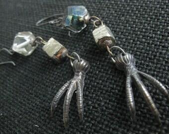 Assemblage dangle earrings. vintage brass claws. goth earrings. raw pyrite nuggets. long earrings. czech glass beads. dark romantic jewelry