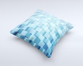 The  Abstract Blue Cubed ink-Fuzed Decorative Throw Pillow