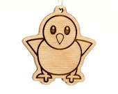 Baby Chick Emoji Wood Keychain - Standing Chick Emoji - Front Facing Baby Chick Emoji - Wooden Baby Chicken Emoji Carved Wood Key Ring