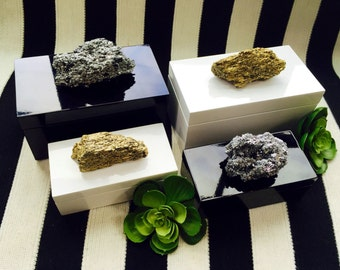 Choice of Chic Black or White Lacquer Boxes with Metallic Crystal Clusters.