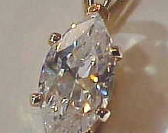 HOUSE of NIKOLAS 14k Gold Plated Marquise Shaped Cubic Zirconia 3 Carat GP Pendant