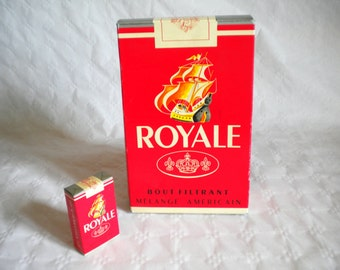 vintage 10 inch counter top display cigarette packet Royale French 1960s empty unused