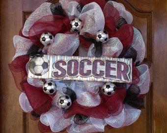Soccer Wreath -- Burgandy, Black, and White Soccer Wreath