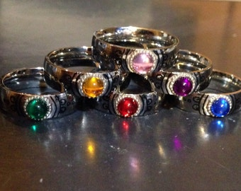 Custom Stainless Steel Madoka Magica Cosplay Ring with Acrylic Gem - Can Be 100% Personalized! Sizes 3-16!