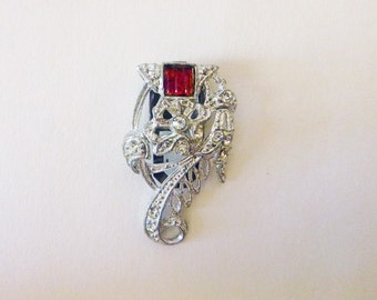 Art Deco pot metal dress fur clip flower red and clear rhinestones fashion accessory