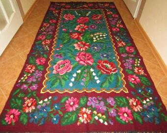 Vintage handwoven wool rug carpet - Floral kilim -  Romania Kilim Bessarabian Kilim. Vintage  Kilim, Handmade , rose kilim rug.