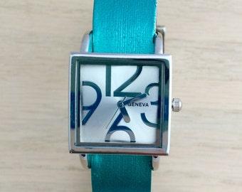Womens Leather Watch, Womens Watch, Leather Cuff Watch, Turquoise Leather Watch, Watch For Women, Wrist Watch, Women's Cuff Watch