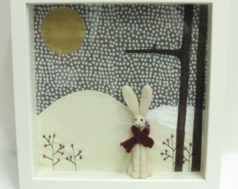 Flurry- Unique Textile Woodland Art Box. Snowy Hare in Woods