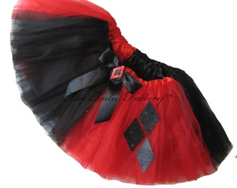 HARLEQUINN Tutu . Infant to 6x .  3 Layers . Red and Black Tutu .  Short . Length 11