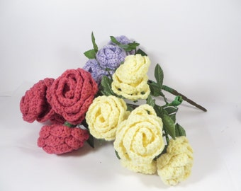 Vintage Knitted Flowers - 3 Bouquets Handmade Yarn Knitted Flowers