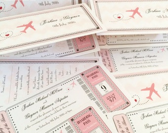 20 x Boarding Pass Invitations, Ticket Style Wedding Invites, Wedding Abroad/Airline Invitations (larger quantities available)
