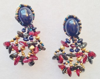 Hand Crafted Blue & Burgundy Dangling Clip Earrings