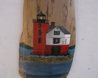 Round Island Lighthouse near Mackinaw Island in the Straits of Mackinac on driftwood - Nautical Decor - Home decor - Beach decor