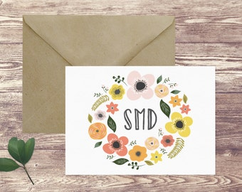 Wreath Personalized Stationery Folded Notecards, Thank You Notecards, Girl's Personal Stationery Set, Notecards with Name, Gift for Her