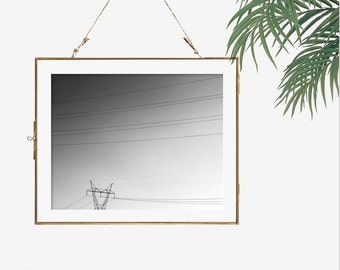 Modern photography minimalist wall art black and white photography power lines photo geometric poster office wall decor dark grey room decor