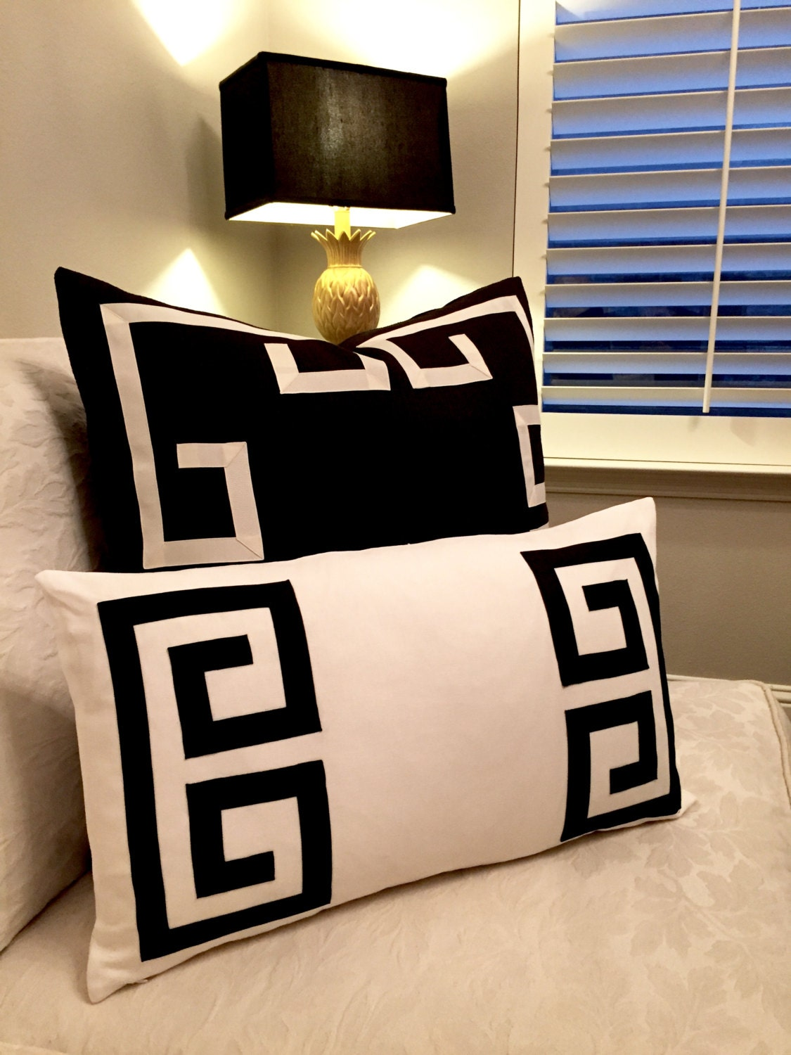 Greek Key Pillows Black And Off White Pillows Black Lumbar