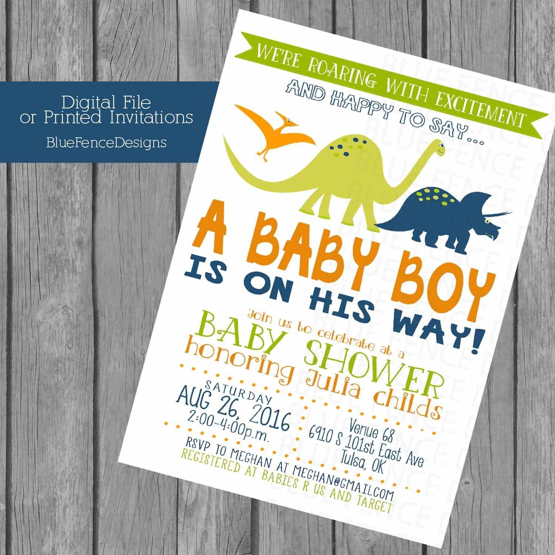 Dinosaur Baby Boy Shower Invitations Prehistoric Orange