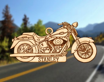 Personalized Wooden Motorcycle Christmas Ornament