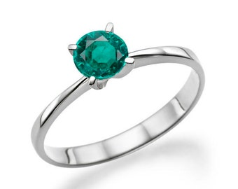 Platinum Ring Emerald Engagement Ring, 0.20 CT Natural Emerald Ring Band, Art Deco Engagement Ring, Solitaire Ring