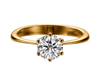 1.50 CT White Sapphire Engagement Ring 14K Rose Gold Classic 6 prongs Solitaire Ring