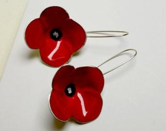 Poppy like earrings,colorful earrings,flower earrings,red earrings,gift for her