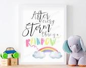 Rainbow Baby Nursery Wall Art, After Every Storm There Is A Rainbow, Pastel Rainbow Watercolor Nursery Art Print, PRINTABLE, 8 x 10