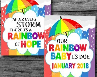Rainbow Baby Pregnancy Announcement Signs, After Every Storm There's A Rainbow Of Hope, PRINTABLE Pregnancy Reveal Photo Prop Sign