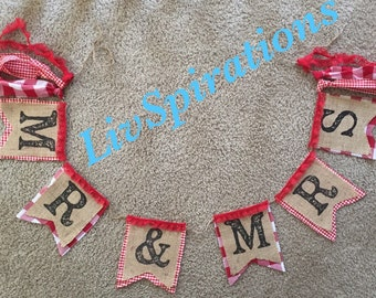 Mr & Mrs Burlap Banner-I DO BBQ-Wedding Banners-Gingham Banners-Gingham Decor-Gingham Party Decor-Wedding Banners-Mr and Mrs banner-Picnic B