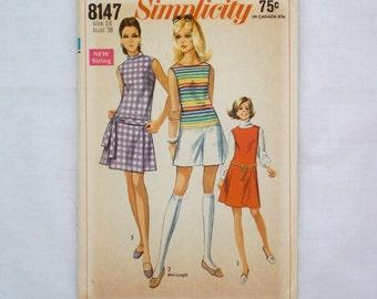 Simplicity dress pattern 8147 size 16 uncut vintage sewing pattern 1960s pant dress or jumper romper