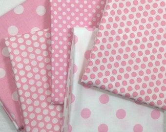 Half Yard Fabric Bundle 5 Pink and White Polka Dots 2.5 Yards Total