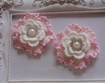 2 crochet flowers applique CH-064