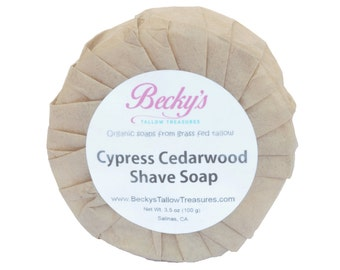 ORGANIC Grass Fed Tallow Shave Soap -- Cypress Cedarwood -- Tallow Shaving Soap -- Organic Shave Soap  -- 3.5oz