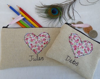 Handmade Personalised Ladies Coin/Card Purse Wallet or Pencil Case Choice of wording, Valentines Heart design, Floral on Linen Mothers Day